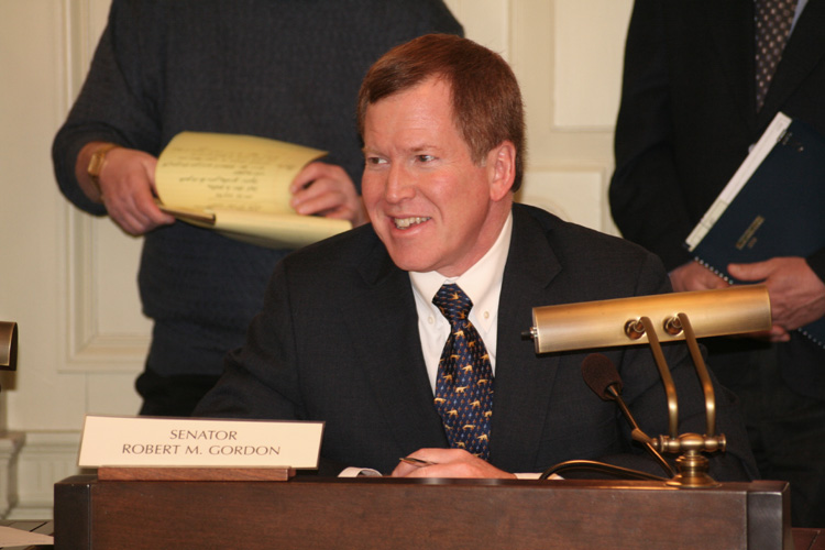 Senator Bob Gordon hears testimony during the Senate Environment Committee.