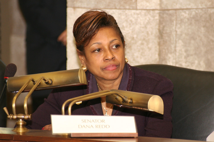Senator Sandra Cunningham listens to testimony during the Senate Budget and Appropriations Committee hearing.