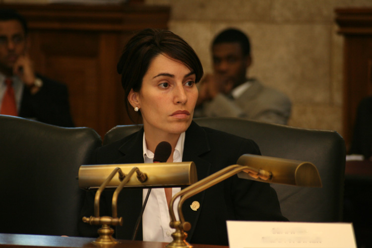 Senator M. Theresa Ruiz listens to testimony during the Senate Budget and Appropriations Committee hearing.