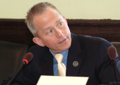 Senator Jeff Van Drew, D-Cape May and Cumberland, speaks about legislation during a meeting of the Senate Budget and Appropriations Committee.
