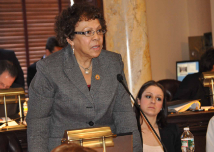 Senator Shirley K. Turner (D-Mercer) testifies during today's Senate voting session.