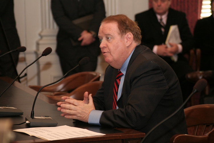 Senate President Richard J. Codey, D-Essex, testifying before the Senate Health Committee on his bill which would increase education and participation in organ donation programs in New Jersey.