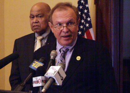 Senator Raymond J. Lesniak, D-Union, the Chairman of the Economic Growth Committee, speaks at a news conference at the Statehouse announcing the introduction of legislation sponsored by himself and Senator Barbara Buono which would begin to address the foreclosure and affordable housing crises facing New Jersey. The bill, S-1566, would establish a central agency under the New Jersey Housing and Mortgage Finance Agency (HMFA) to use funds from the State Affordable Housing Trust Fund to purchase and deed-restrict foreclosed properties to be used as affordable housing. The bill would also create incentives for municipalities to transition foreclosed properties to affordable housing, giving them a 2-to-1 match against their affordable housing obligation for affordable units created from foreclosed properties. Senator Lesniak said the bill could result in 10,000 new affordable units and 10,000 less unoccupied, boarded-up properties. Also pictured is Assembly Speaker Pro Tempore Jerry Green.