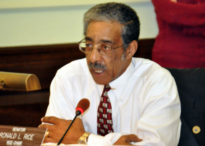Senator Ronald L. Rice, D-Essex, speaks during a meeting of the Senate Community and Urban Affairs Committee.