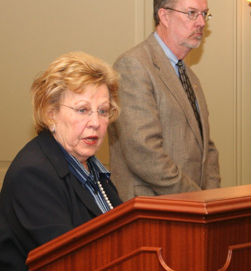Senator Loretta Weinberg, D-Bergen, speaks while Assemblyman Jim Whelan, D-Atlantic, looks on at a news conference to unveil their legislation to give elderly and disabled residents a choice in receiving home health care in New Jersey.