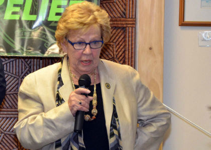 Senate Majority Leader Loretta Weinberg, D-Bergen, speaks to a crowded town hall meeting in Teaneck about the Senate Dems' Real Relief property tax plan, which would offer taxpayers a 10 percent credit on their property taxes.