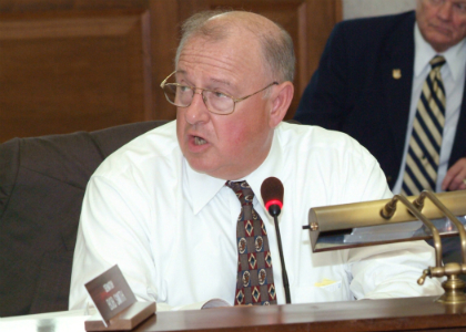 Senator Bob Smith, D-Middlesex and Somerset, listens to testimony during the Senate Budget and Appropriations Committee's hearing on the FY 2011 Budget bills.
