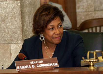 Senator Sandra Bolden Cunningham, D-Hudson, listens to testimony during the Senate Budget and Appropriations Committee's hearing on the FY 2011 Budget bills.