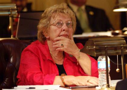 Senator Loretta Weinberg, D-Bergen, reviews the vote count for legislation on the floor of the State Senate.