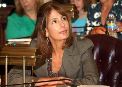 Senate Majority Leader Barbara Buono, D-Middlesex, reviews the vote tally during a voting session of the New Jersey State Senate.