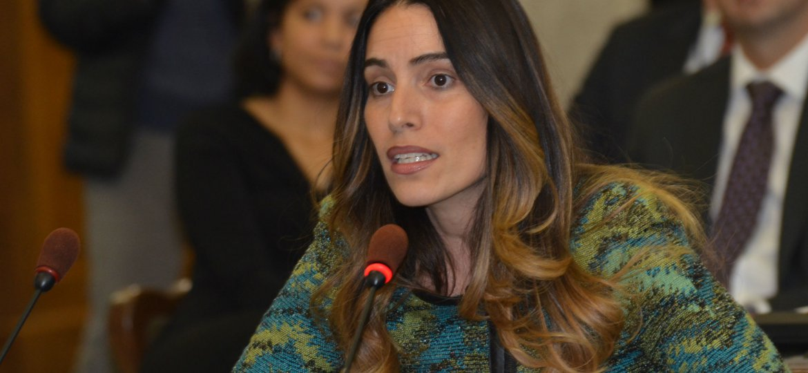 Sen. M. Teresa Ruiz (D-Essex) testifies in support of legislation that provides in-state tuition to undocumented young adults.