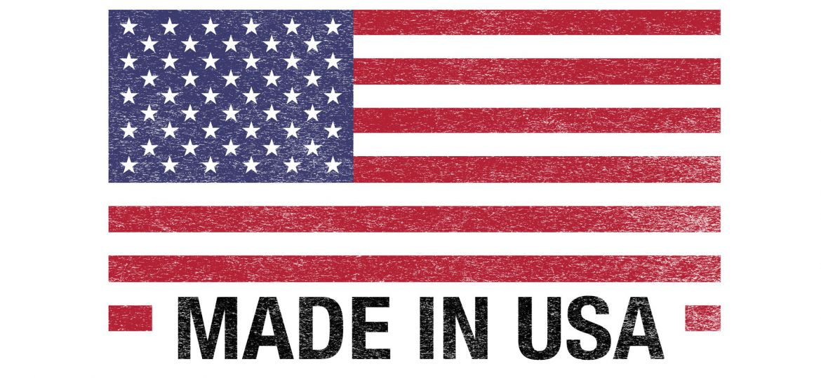 Made In USA Flag  Barcode On White